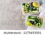 vegan green meal prep... | Shutterstock . vector #1175653501