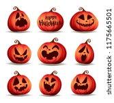 set pumpkins of halloween. a... | Shutterstock .eps vector #1175665501