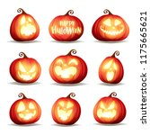set pumpkins of halloween. a... | Shutterstock .eps vector #1175665621