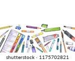 watercolor artistic workspace ...   Shutterstock . vector #1175702821