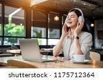 close up the an asian girl is... | Shutterstock . vector #1175712364