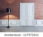 luxury interior, white door and lamp - stock photo