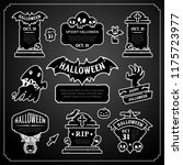 halloween black and white... | Shutterstock .eps vector #1175723977