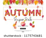 autumn sale banner. autumnal... | Shutterstock .eps vector #1175743681