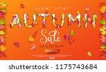 autumn sale banner. autumnal... | Shutterstock .eps vector #1175743684
