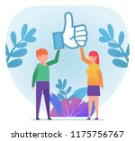 man and woman hold big thumb up ... | Shutterstock .eps vector #1175756767