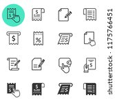 receipt icon set. black vector... | Shutterstock .eps vector #1175766451