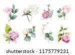 watercolor set of bouquets of... | Shutterstock . vector #1175779231