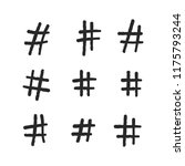 hashtag vector hand drawn icons.... | Shutterstock .eps vector #1175793244
