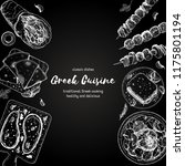 greek cuisine top view. a set...   Shutterstock .eps vector #1175801194