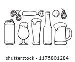 beer objects set. beer glasses... | Shutterstock .eps vector #1175801284