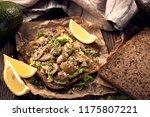 protein bread with avocado... | Shutterstock . vector #1175807221