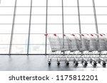 long supermarket carts row... | Shutterstock . vector #1175812201