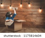 child is playing in aviator in... | Shutterstock . vector #1175814604