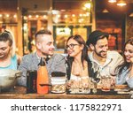 fashion trendy friends drinking ... | Shutterstock . vector #1175822971