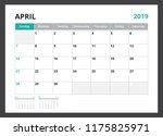2019 calendar planner corporate ... | Shutterstock .eps vector #1175825971