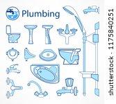 set of plumbing line icons in... | Shutterstock .eps vector #1175840251