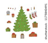 christmas new year tree set... | Shutterstock .eps vector #1175840491