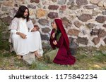 Small photo of Repentant sinner woman asking for forgiveness and healing