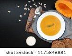 pumpkin cream soup in a white... | Shutterstock . vector #1175846881