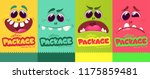 Stock vector cartoon monster faces set vector set of four halloween monster faces package design mock up 1175859481
