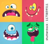 cartoon monster faces set.... | Shutterstock .eps vector #1175859511