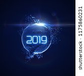 happy new 2019 year. futuristic ... | Shutterstock .eps vector #1175860231