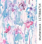Stock photo watercolor seamless pattern with flowers in pink and blue colors 1175866714