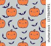seamless halloween pattern...   Shutterstock .eps vector #1175869891