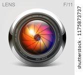set camera lens object glass... | Shutterstock .eps vector #1175873737