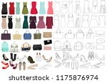 women  fashion clothes  set | Shutterstock .eps vector #1175876974