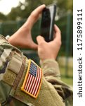 us soldier make a photo on his... | Shutterstock . vector #1175899111