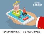 flat isometric concept of hotel ... | Shutterstock . vector #1175905981