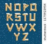 wooden alphabet with snow | Shutterstock .eps vector #1175923954