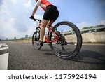woman cyclist riding mountain... | Shutterstock . vector #1175924194