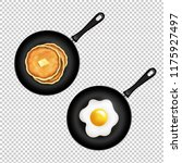 pan with pancake and fried eggs ...   Shutterstock .eps vector #1175927497