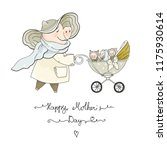 mom pig with baby carriage and... | Shutterstock .eps vector #1175930614