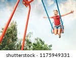little girl swing on swing | Shutterstock . vector #1175949331