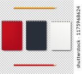notebook isolated with pencils... | Shutterstock .eps vector #1175968624