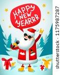 rock n roll santa. singing... | Shutterstock . vector #1175987287