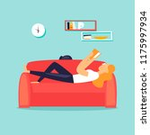 woman lying on the couch... | Shutterstock .eps vector #1175997934