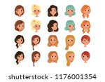 set of different girl s hair... | Shutterstock .eps vector #1176001354