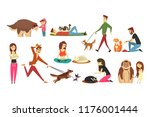 Stock vector happy people with their cats set cute pets with their owners cartoon vector illustrations 1176001444