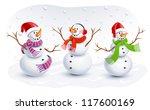 funny snowmen   Shutterstock .eps vector #117600169
