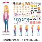 cute teen girl character set... | Shutterstock .eps vector #1176007087