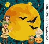 cartoon family celebrating... | Shutterstock .eps vector #1176007801