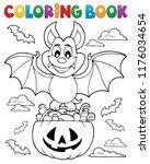 coloring book halloween bat... | Shutterstock .eps vector #1176034654