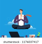 man doing yoga and meditation.... | Shutterstock .eps vector #1176037417
