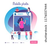 young people posting self... | Shutterstock .eps vector #1176037444