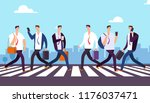 people on crosswalk.... | Shutterstock .eps vector #1176037471